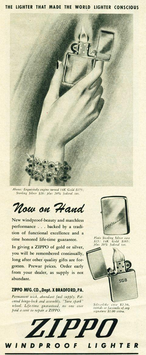 Vintage Zippo Advertisement From 1946 Zippo Lighter Vintage Ads Zippo