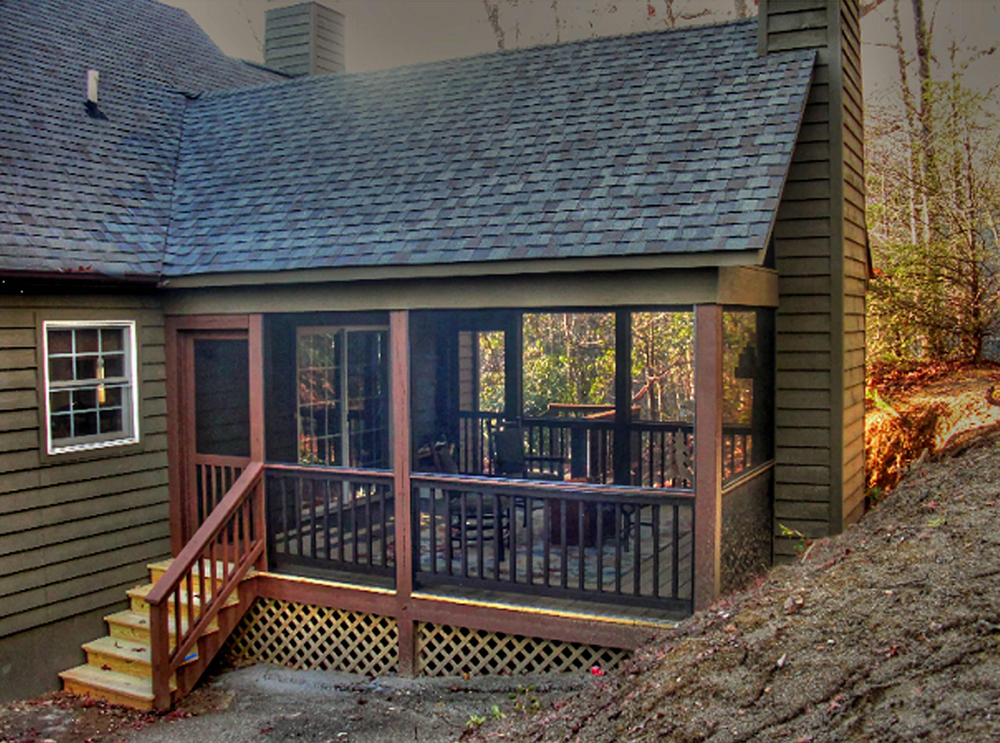 Banks job screen porch addition with fireplace by Moore