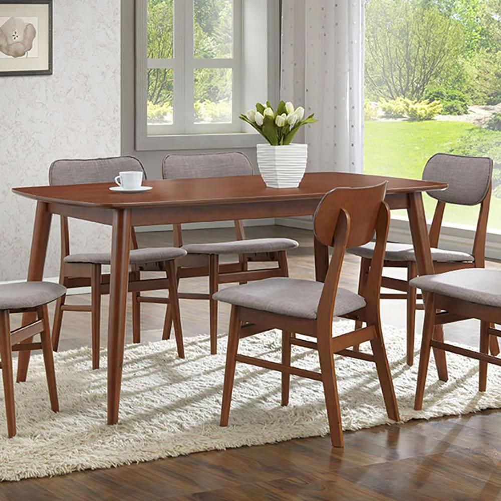 Baxton Studio Sacramento Medium Brown Wood Dining Table 28862 6114 Hd The Home Depot In 2020 Brown Wood Dining Table Dining Table Dining Table In Kitchen
