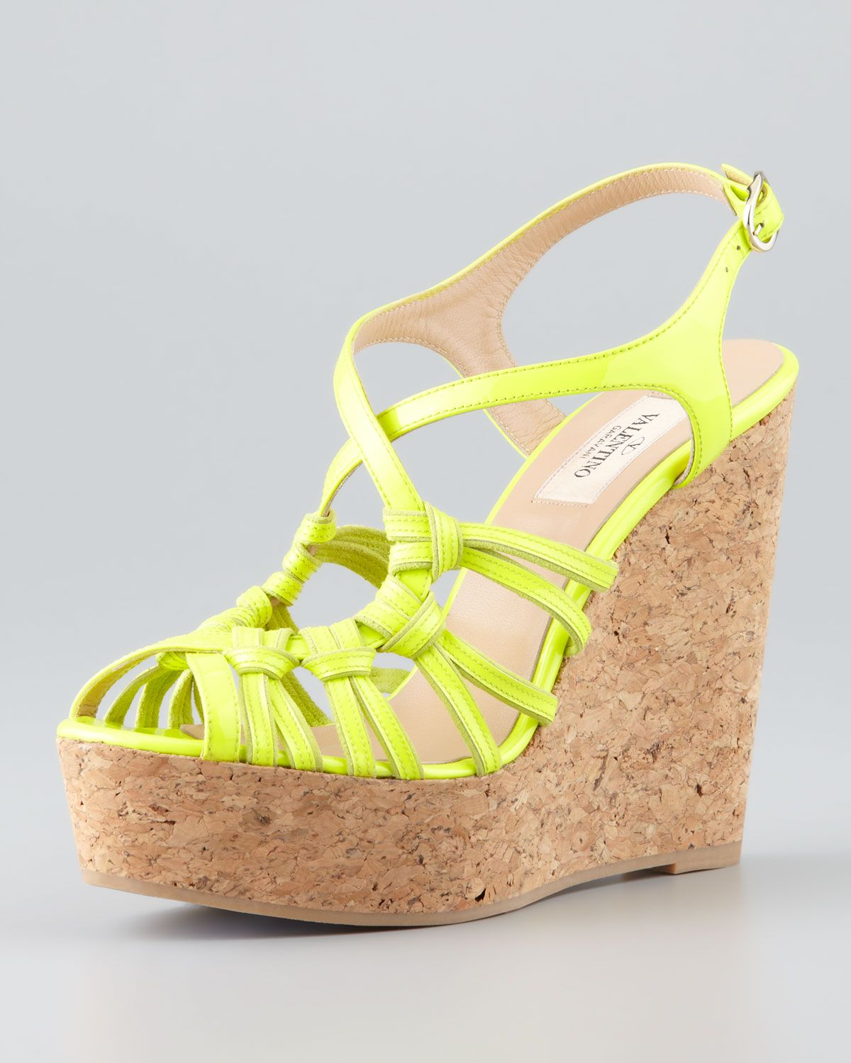 3a0281cf132 Valentino Strappy Patent Cork Wedge Sandal Yellow in Yellow