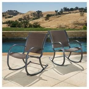 Surprising Gracies Set Of 2 Wicker Patio Rocking Chair Brown Short Links Chair Design For Home Short Linksinfo