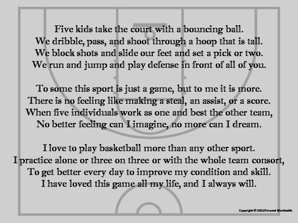How to write a basketball poem
