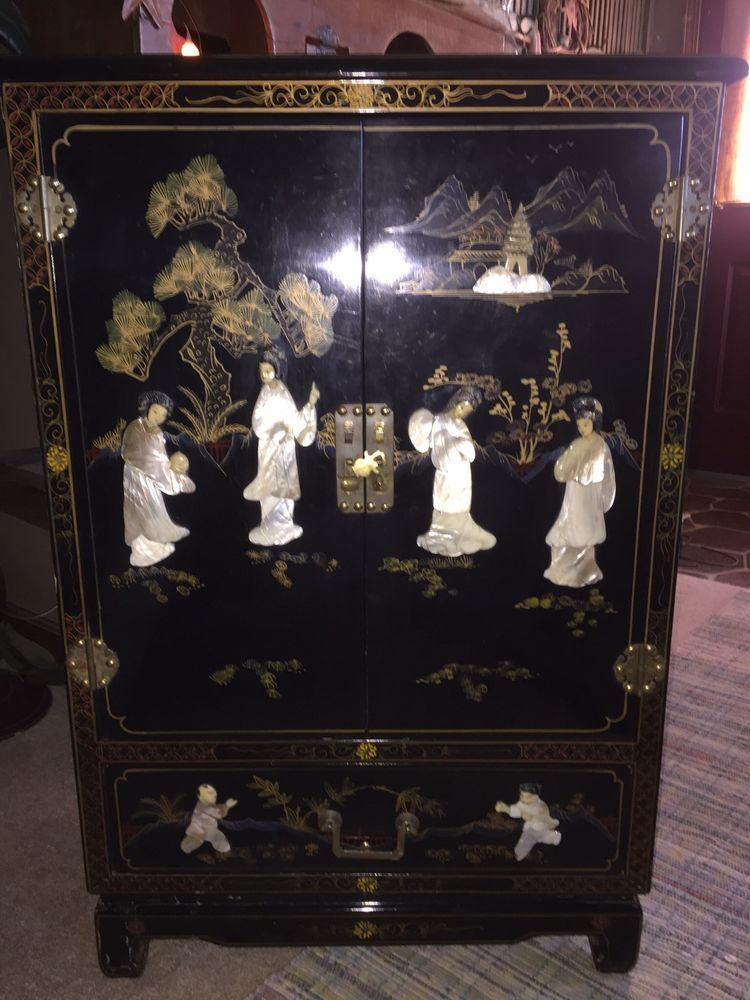Antique Oriental Black Lacquer Cabinet With Mother Of Pearl Inlay Chinese