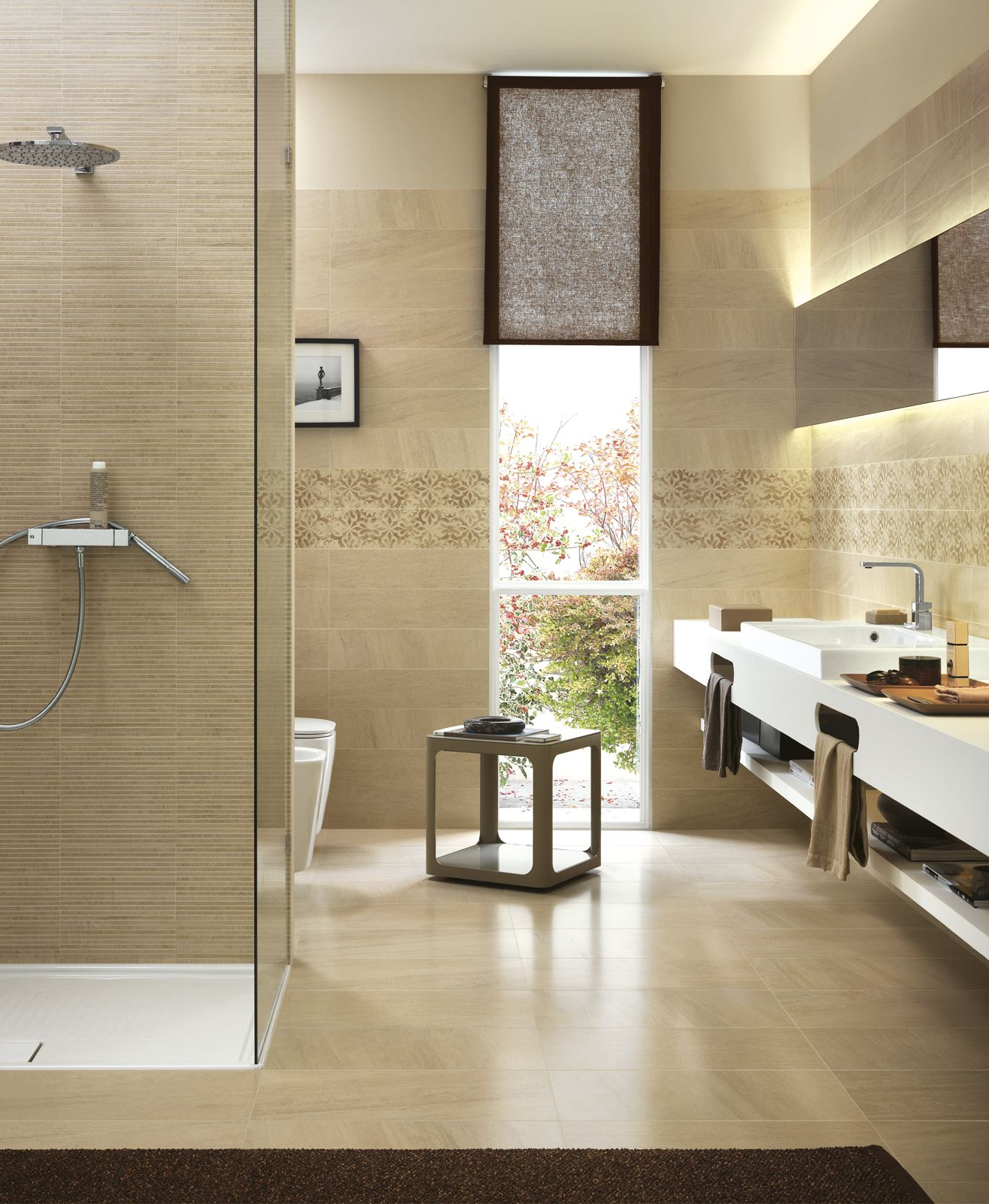 Lifestyle - fine porcelain stoneware stone effect   Ragno   bathroom ...