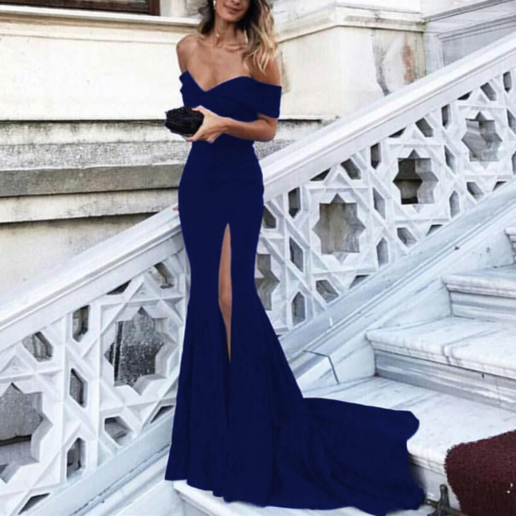 Lp sexy evening dress long off the shoulder sexy mermaid prom