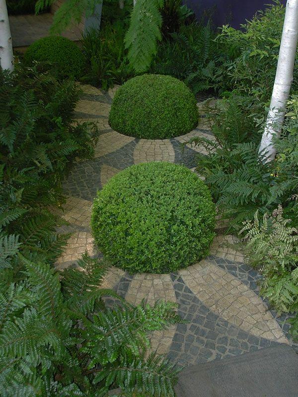 Grune Landschaft Halbkugel Formen Und Kleine Steinplatten In 2020 Garten Ideen Gestaltung Vorgarten Garten Pflanzen Garten Ideen