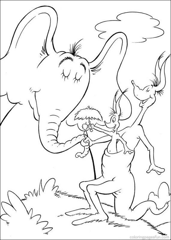 Dr Seuss Horton Coloring Pages 31 JRs 2nd Birthday Pinterest