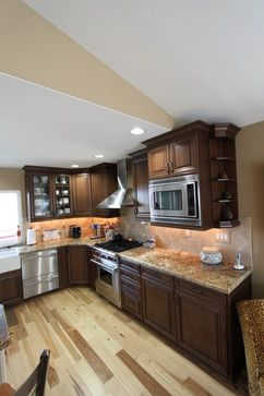 Natural Hickory Floor With Darker Cabinets Kitchen CabinetsFloors