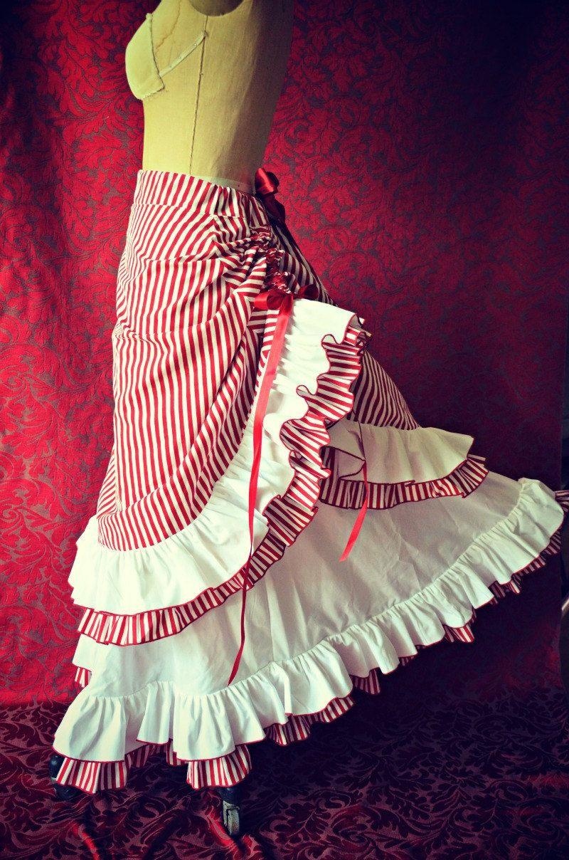 Victorian Steampunk Edwardian Ring Mistress Candy Striper Inspired Bustle Skirt. $169.00, via Etsy.