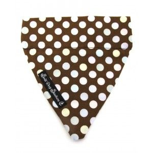 Chocolate Drops Dog Bandana by Salt Dog Studios from £7.99.  Large chocolate polka dot  fabric bandana.    Slip on bandana that goes over the collar.  Easily removed for washing or swapping onto a different collar!