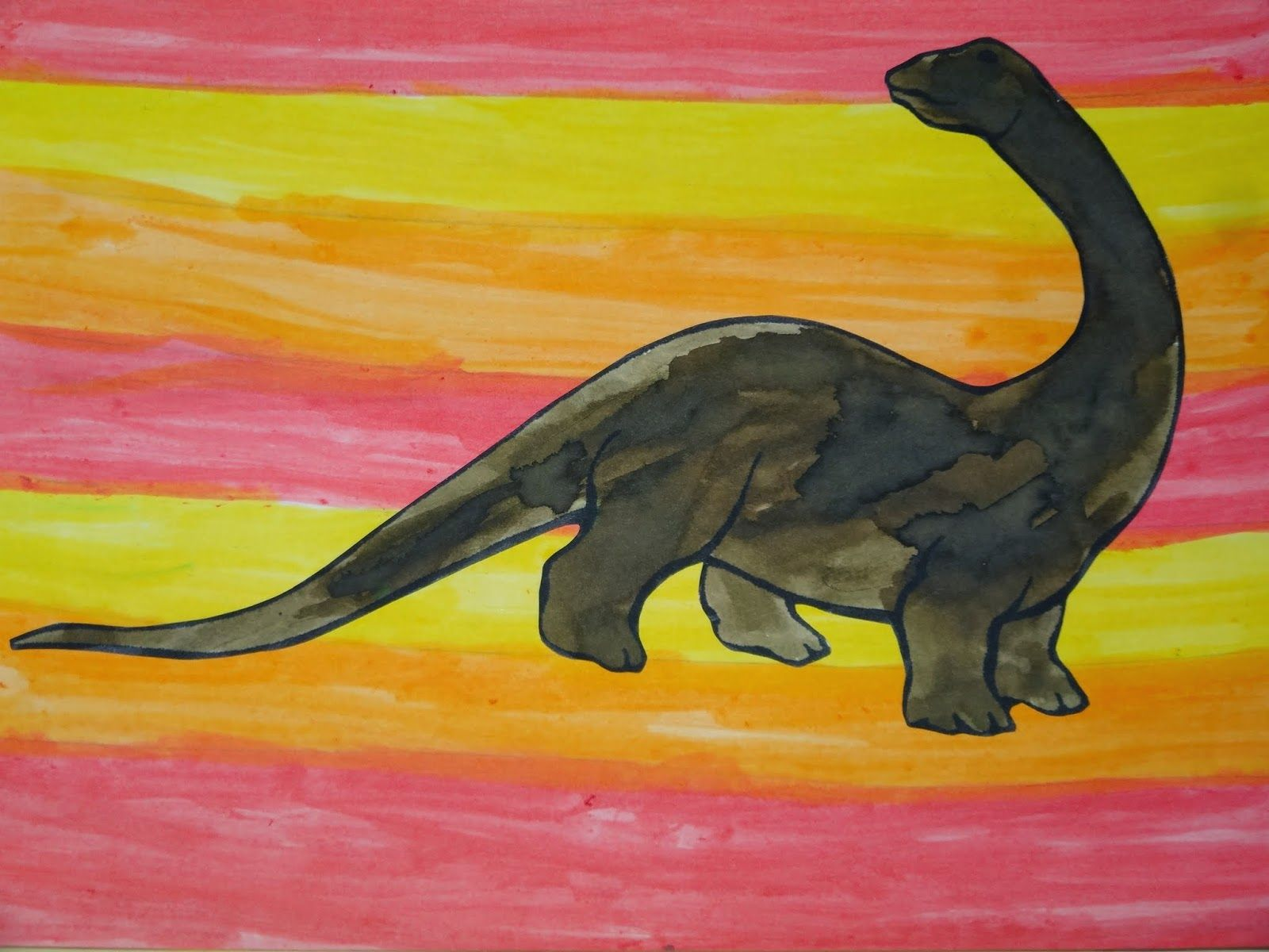 La maternelle de Luciole peinture herbivores dinosaures 12