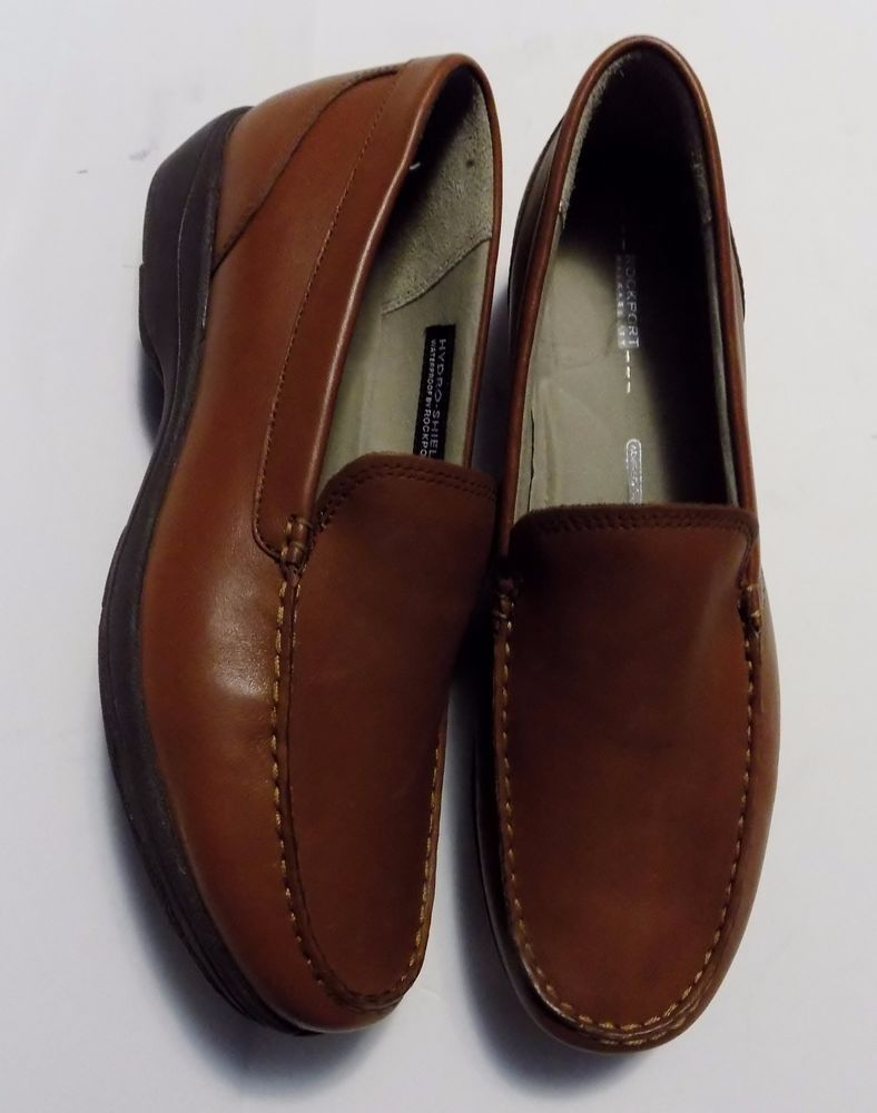 Rockport Womens Shoes Hydro Shield Waterproof Brown Leather Loafers Size 8.5  M #Rockport #LoafersMoccasins