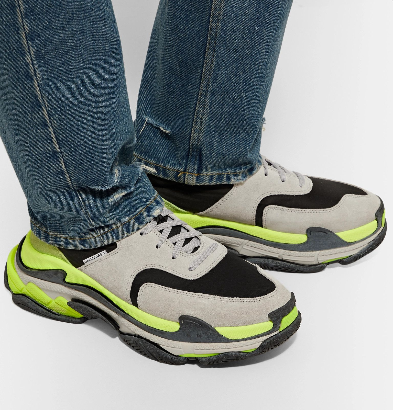 balenciaga triple s nylon mesh suede and leather sneakers