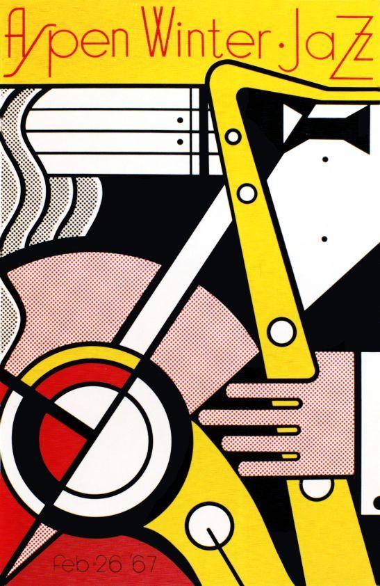 By Roy Lichtenstein 1 9 6 7 Aspen Jazz Festival Artwork Music Popart Musicart Jazz Www Pinterest Com Thehitman14 Music Art Roy Lichtenstein Jazz Poster