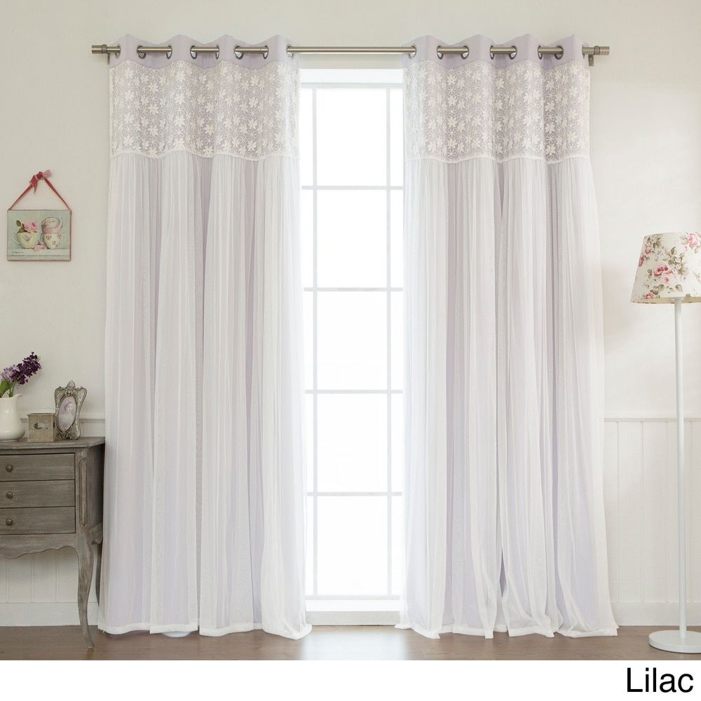 Curtain pair overstock shopping great deals on lights out curtains - Aurora Home Floral Lace Overlay Thermal Insulated Blackout Grommet Top Curtain Panel Pair Mint 96inch Green Size 96 Inches