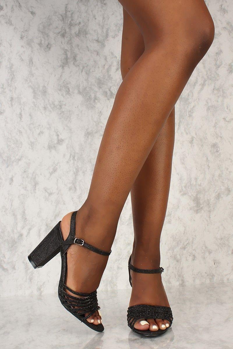 3c43ae3c5e0 Sexy Black Glitter Beaded Detail Single Sole Open Toe Chunky High Heels