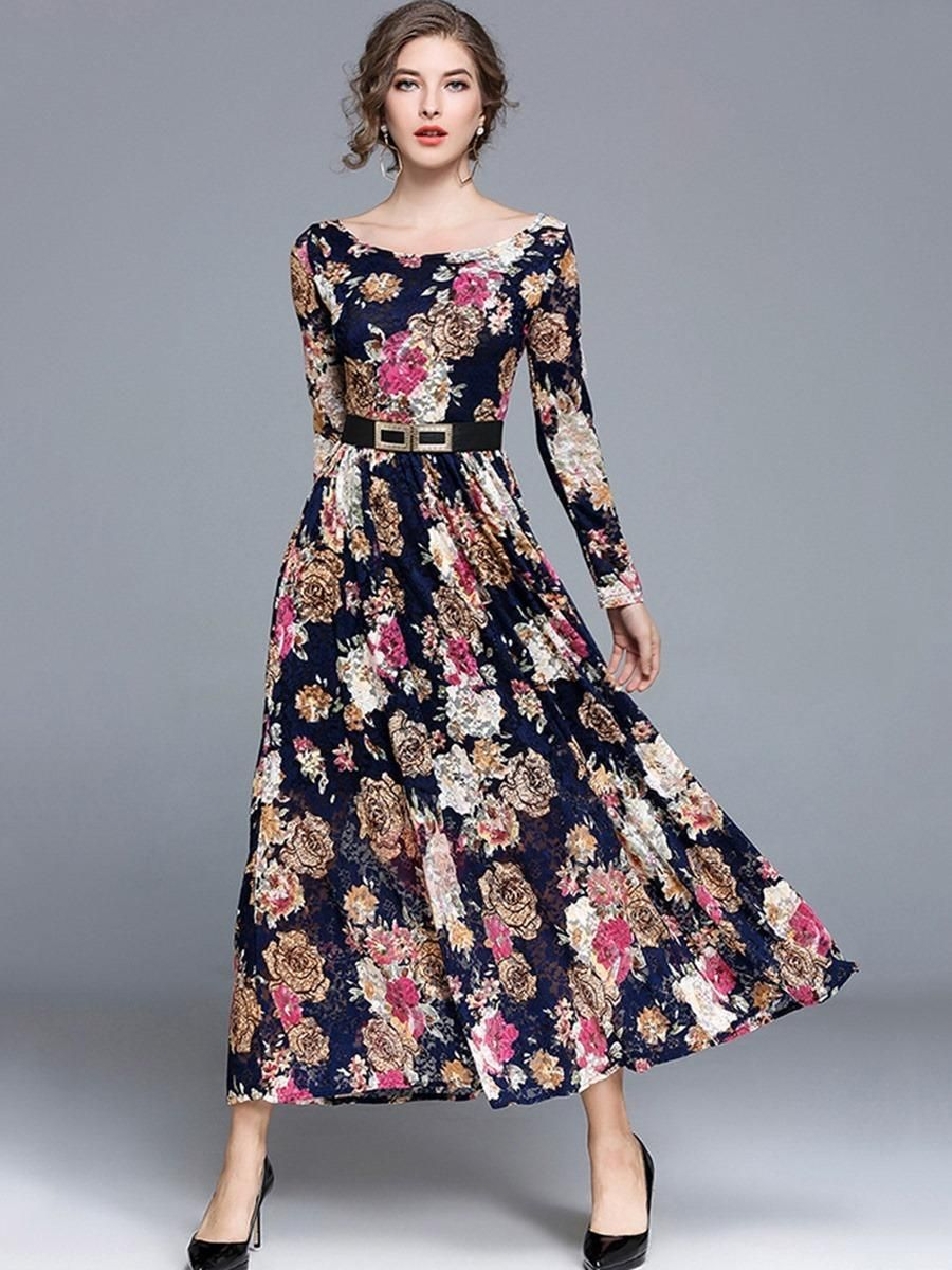 6f429c471bd9 #TideBuy - #TideBuy Amazing Floral Imprint Long Sleeve Womens Maxi Dress -  AdoreWe.com