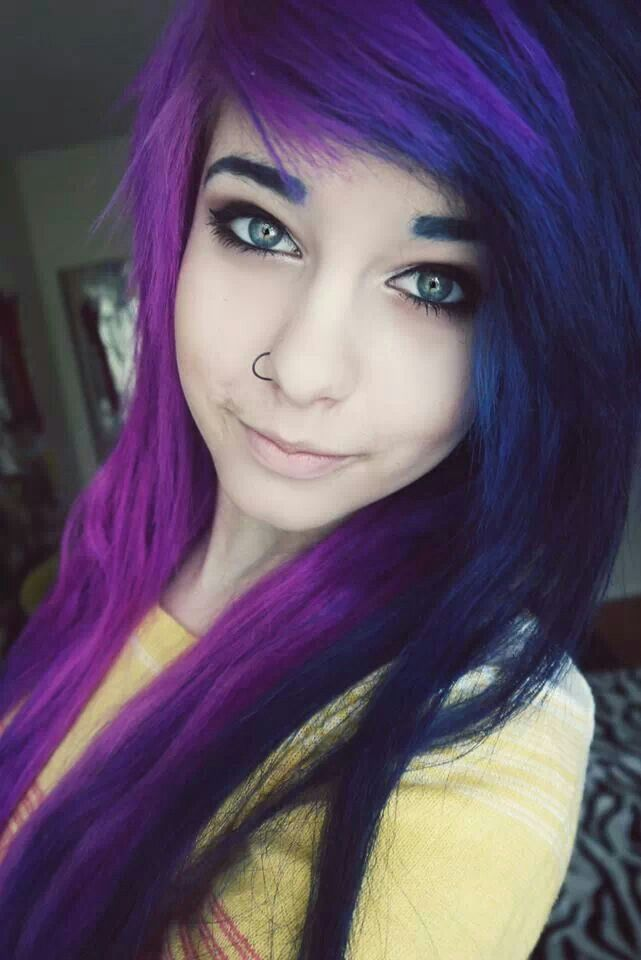 Half purple and half navy blue hair color 3 want hair Navy purple color