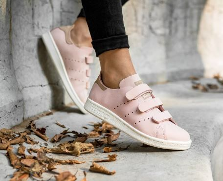 adidas Originals Pink Nubuck Leather Stan Smith Sneakers With Strap