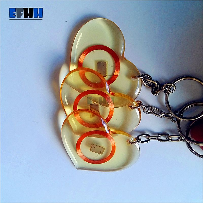 125khz Em4100 Tk4100 Id Transparent Trops Of Glue Card Rfid Key Tag Read Only Key Ring In Access Control Card Heart Type Heart Type Key Tags Key Rings