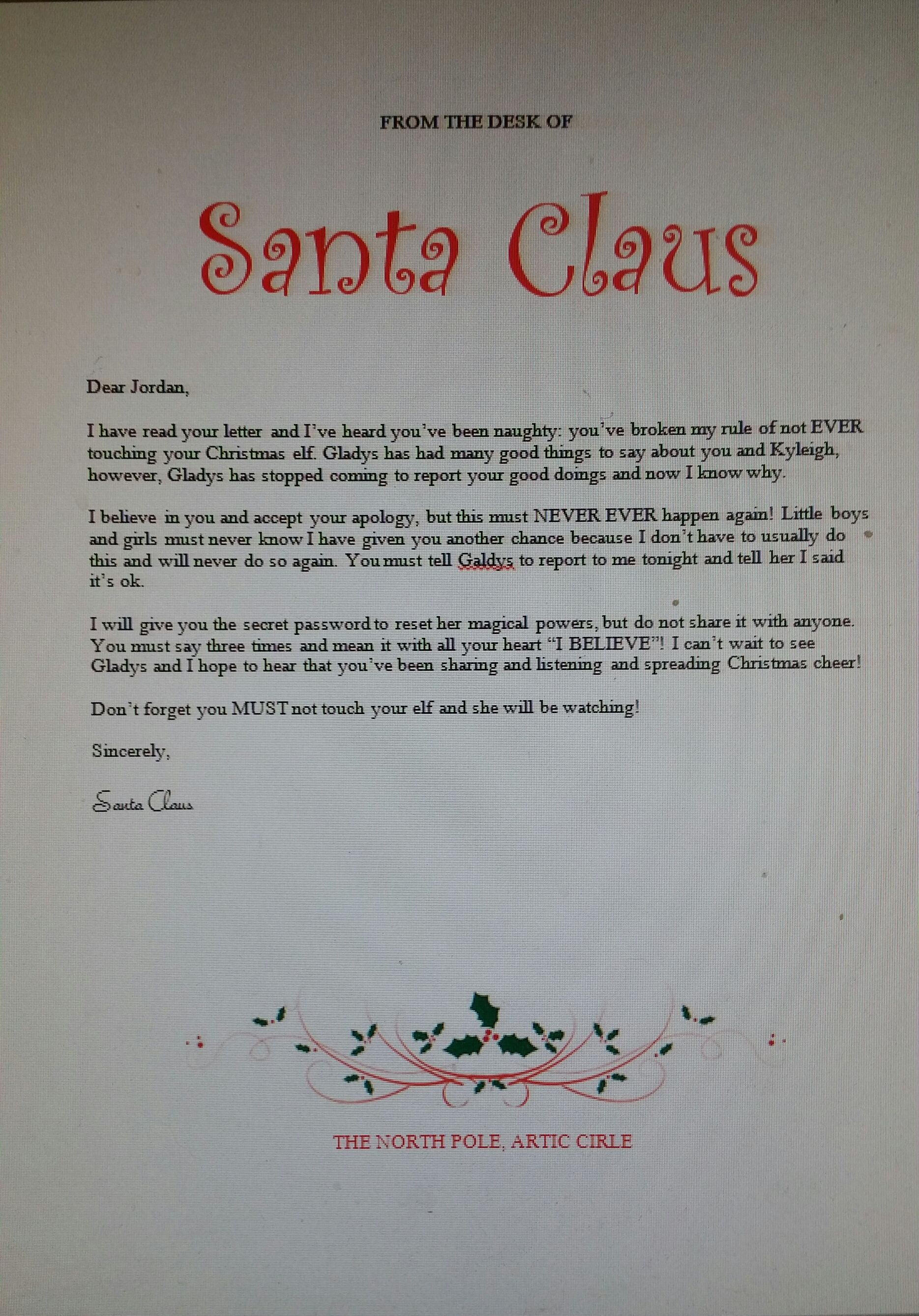 Santa's response letter to my son for touching his Elf on