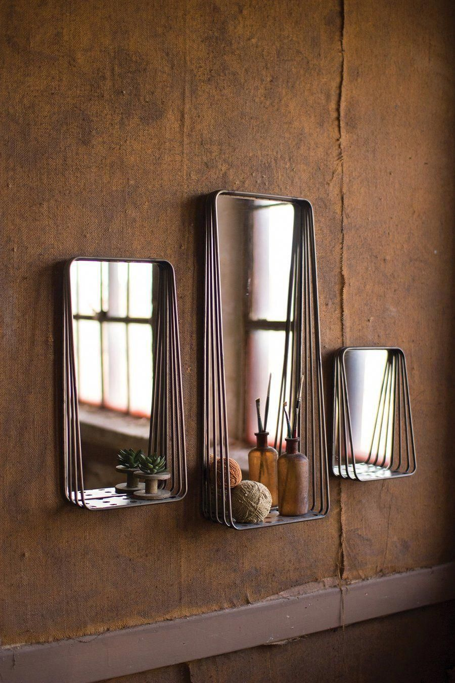 This set of modern style mirrors come with a unique rustic