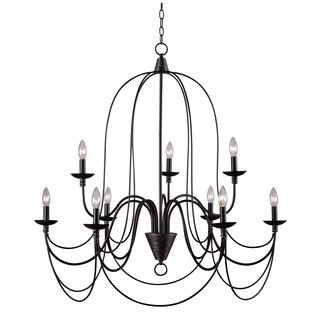 Iron 8 light black chandelier overstock shopping great deals on ceiling lights for less aloadofball Image collections
