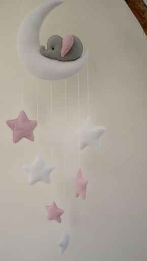 Sleepy Elephant Moon And Stars Nursery Decor White Grey