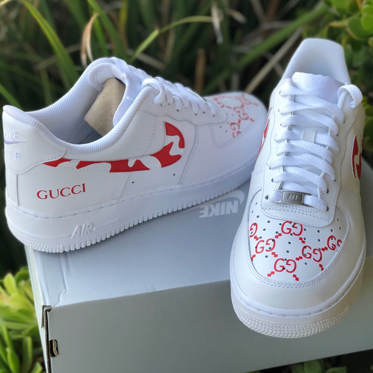 "Air Force 1 ""GUCCI Camo"" Customs 310 LA Gucci shoes"