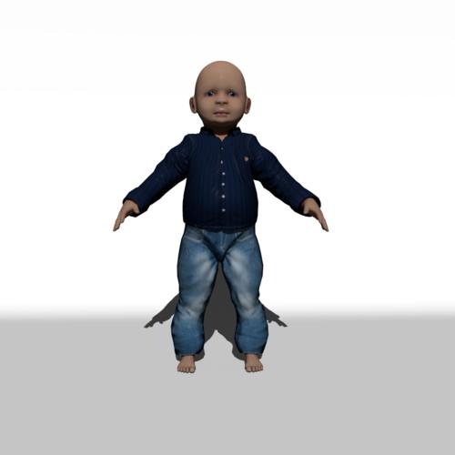 3d model cartoon child boy rigged