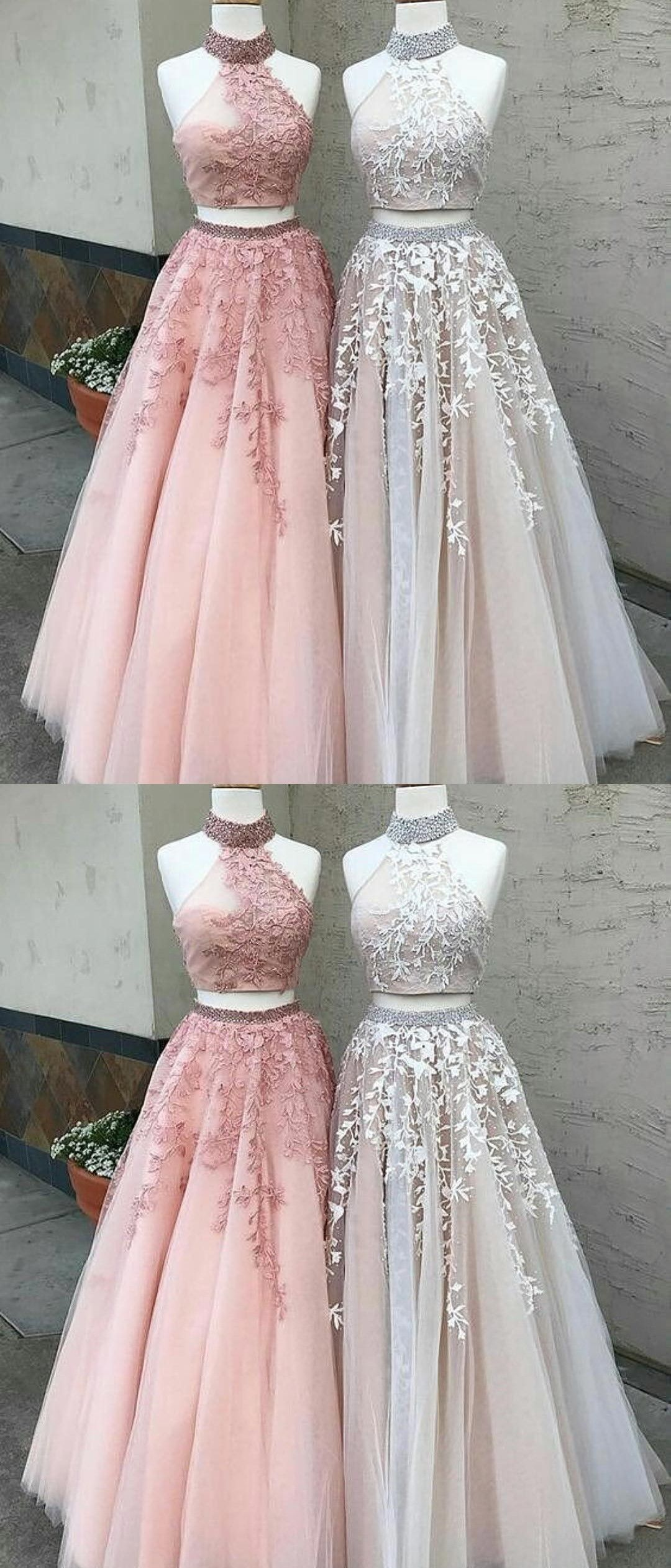Elegant pieces prom party dresses with appliques pink fashion