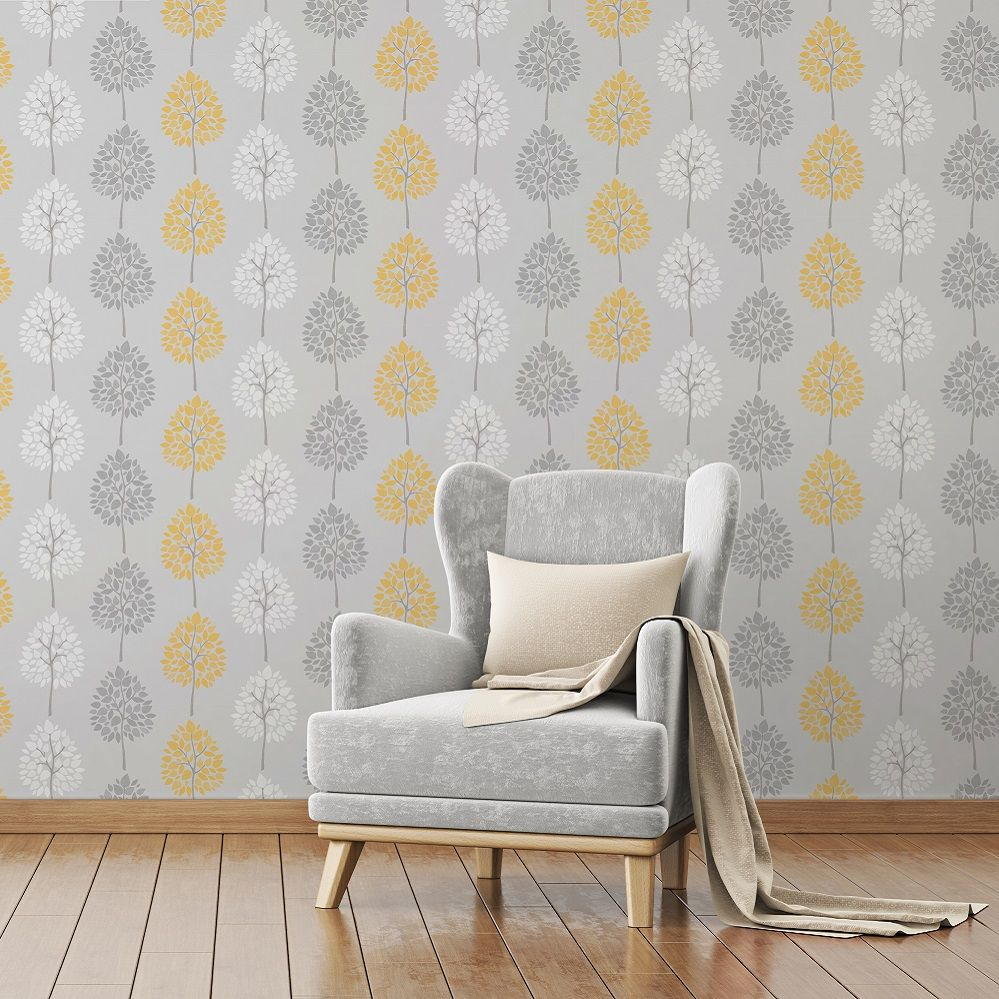 Fine Decor Riva Floral Tree Yellow Wallpaper | Mustard, Metallic and ...