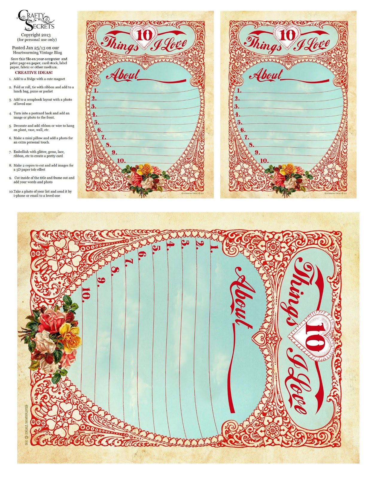 Crafty Secrets Vintage Paper Crafts Stamping Ideas Our Free 10 Things I Love Valentine