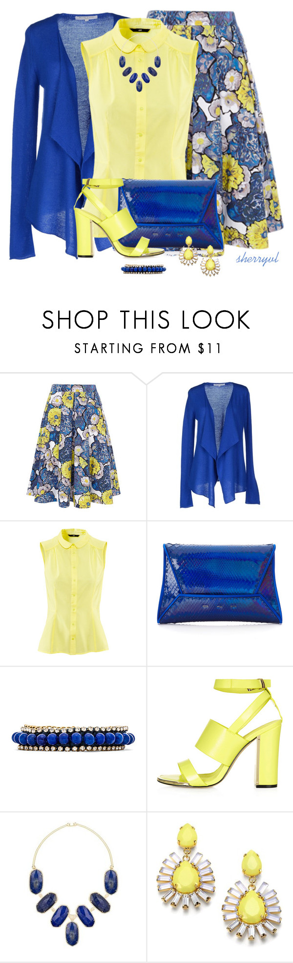 """""""Blue And Yellow"""" by sherryvl ❤ liked on Polyvore featuring Autre Chose Paris, H&M, VBH, Ettika, Topshop, Kendra Scott and ABS by Allen Schwartz"""