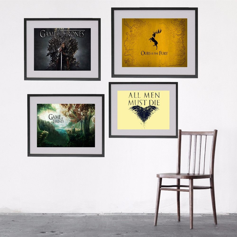 Game Of Thrones Logo Style Canvas Art Print Painting Poster Vintage ...