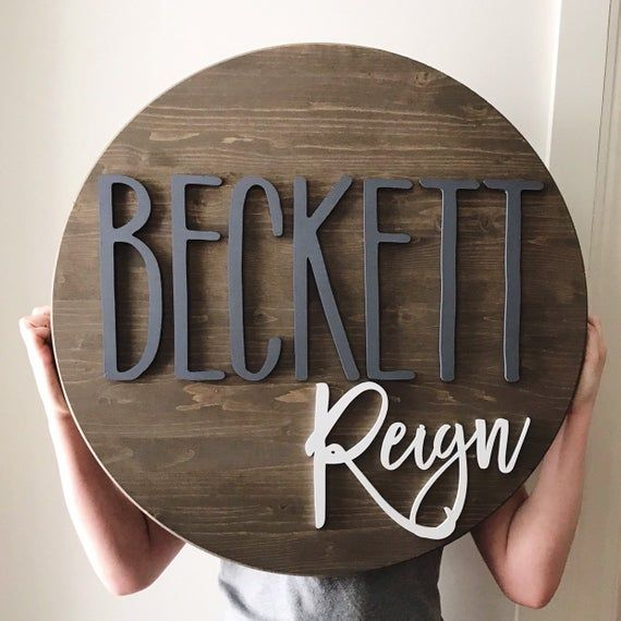 Round name sign, NO LETTER LIMIT, 24 round sign, nursery name sign