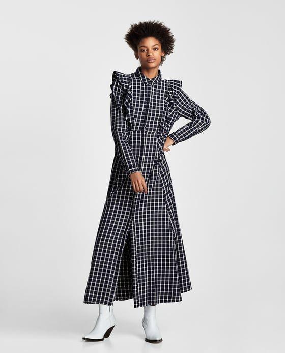 VESTIDO LARGO CUADROS | Zara mujer vestidos, Zara y Cuadro