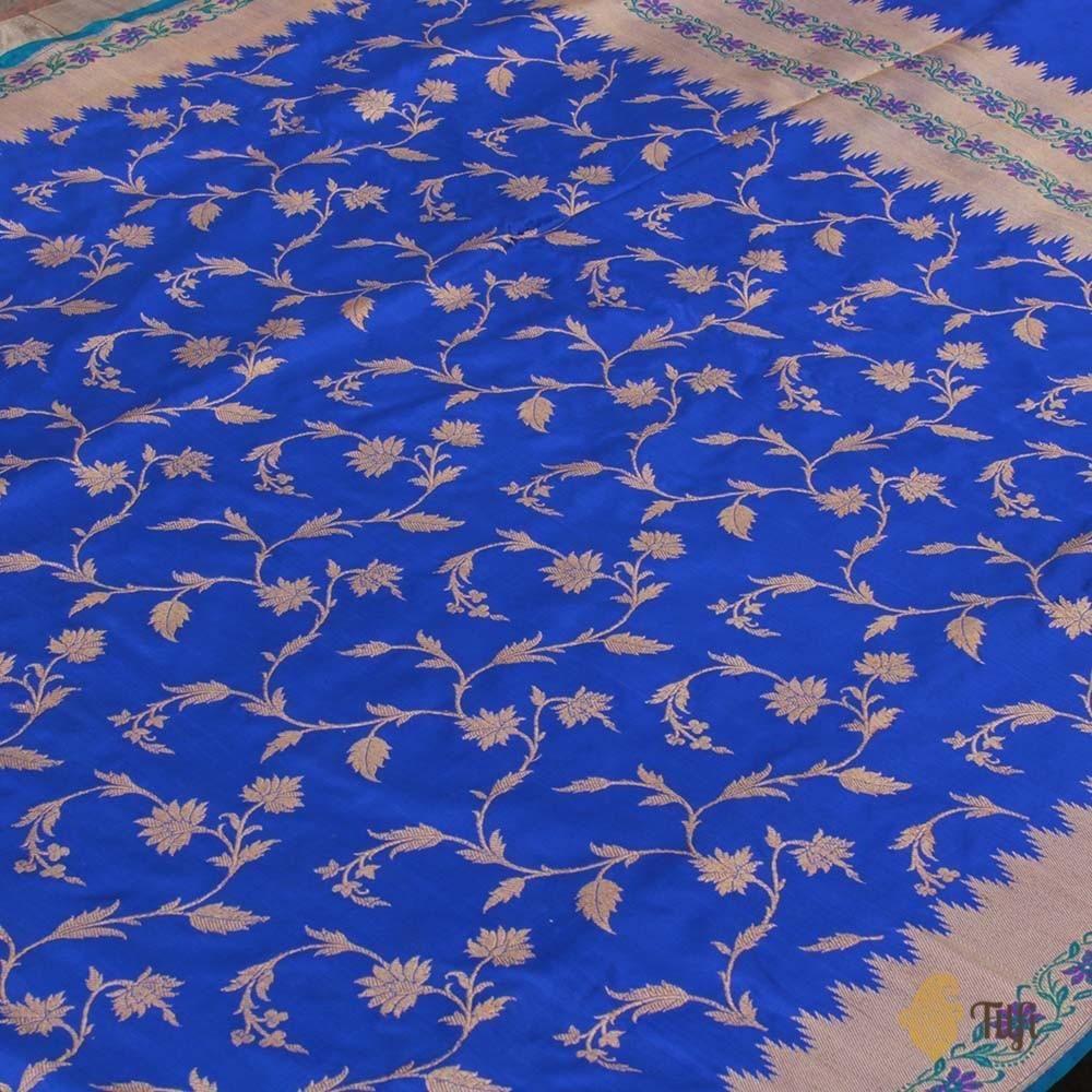 0e84c2c13b Royal Blue Pure Katan Silk Banarasi Handloom Saree | shoaib ...