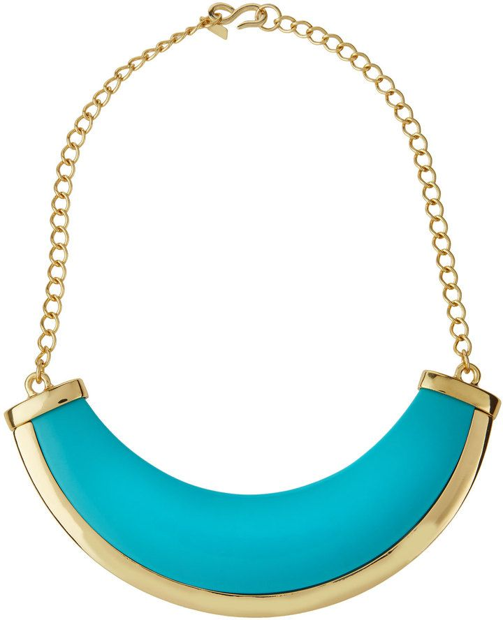 """""""KENNETH JAY LANE POLISHED GOLDEN TURQUOISE-HUE BIB NECKLACE  """" https://www.shopstylecollective.com/search?fts=bib%20necklace"""