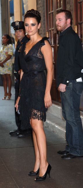 Penelope Cruz and Chanel Fall 2006 Black Lace Dress