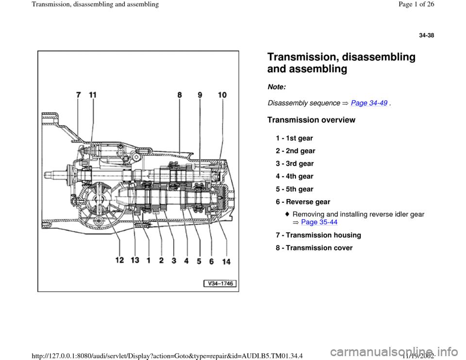 AUDI A4 1995 B5 / 1.G 01W Transmission Disassemble And