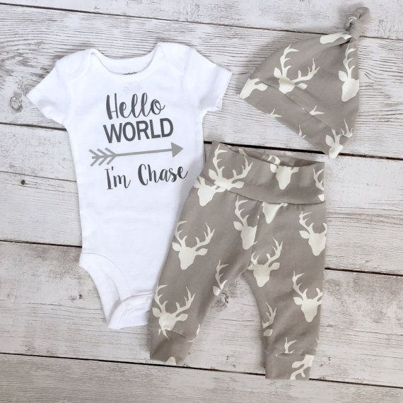 3cb02a05d Baby boy coming home outfit, hello world, Newborn boys going home outfit,  Coming home outfit, deer theme, grey bucks, stag