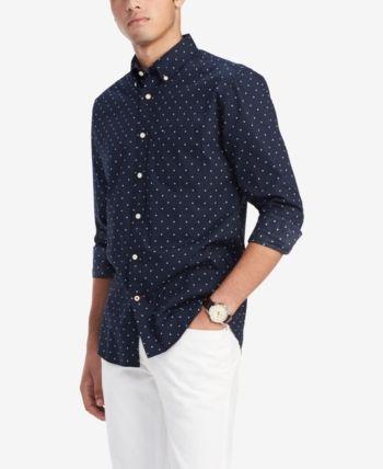 51520cd0 Tommy Hilfiger Men's Classic-Fit Bob Geo-Print Shirt, Created for Macy's -  Blue XXL