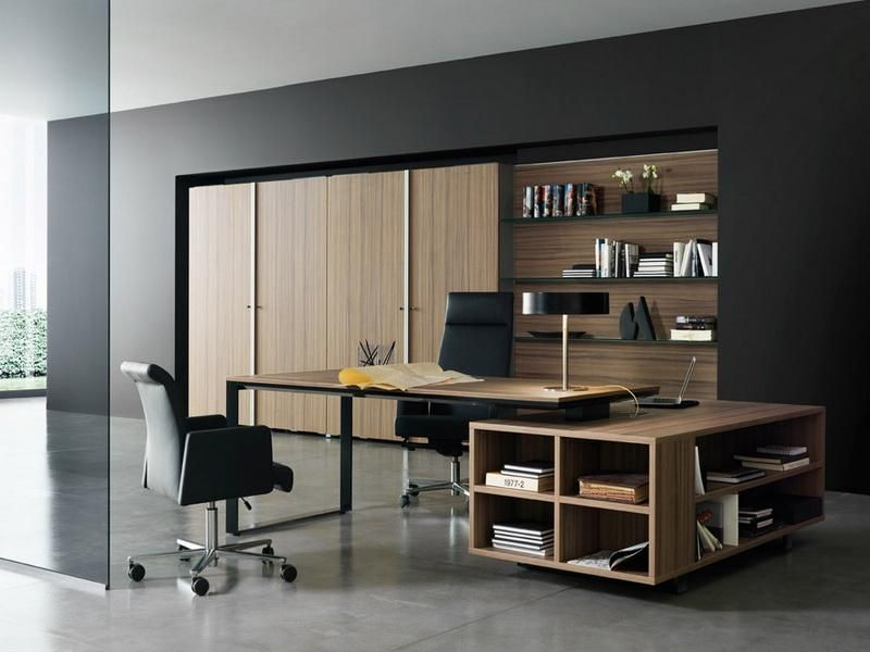 Office Workspace Wooden Desk And Bookcase In Modern Workspace