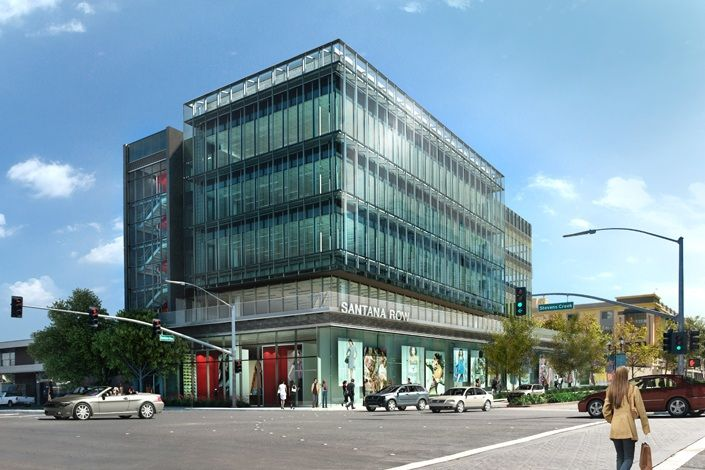 300 santana row retail office building and parking garage for Garage building companies