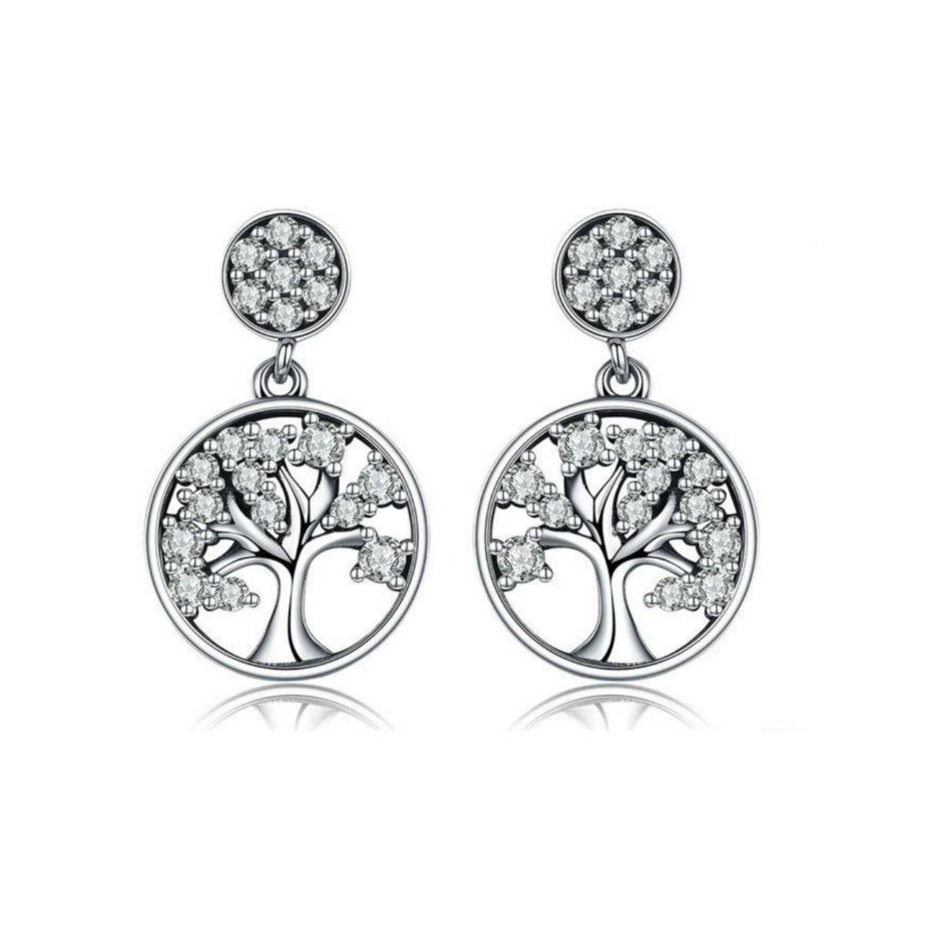 Tree Of Life 925 Sterling Silver Drop Earrings