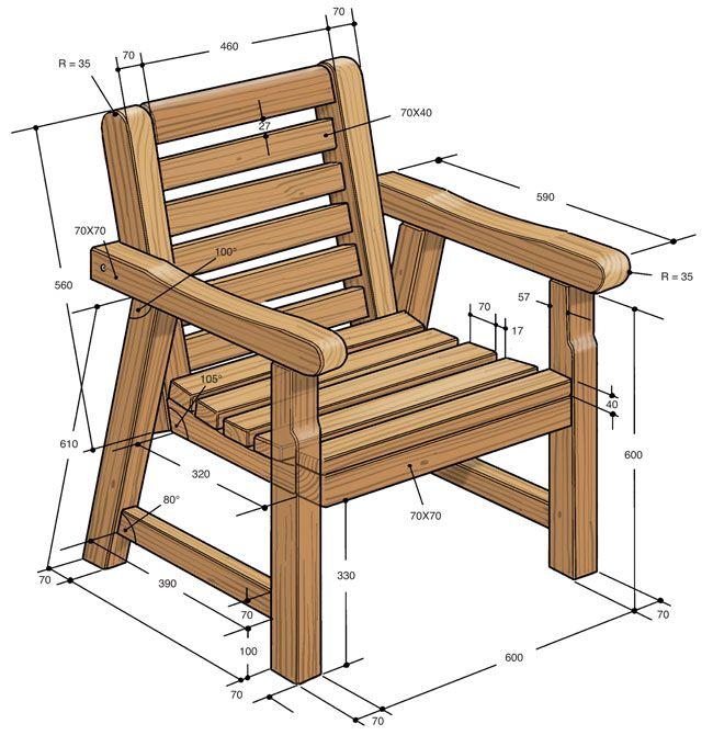 Progetto sedia di legno lavori da provare nel 2019 sillon de madera muebles r sticos e - Mobili in legno da esterno ...