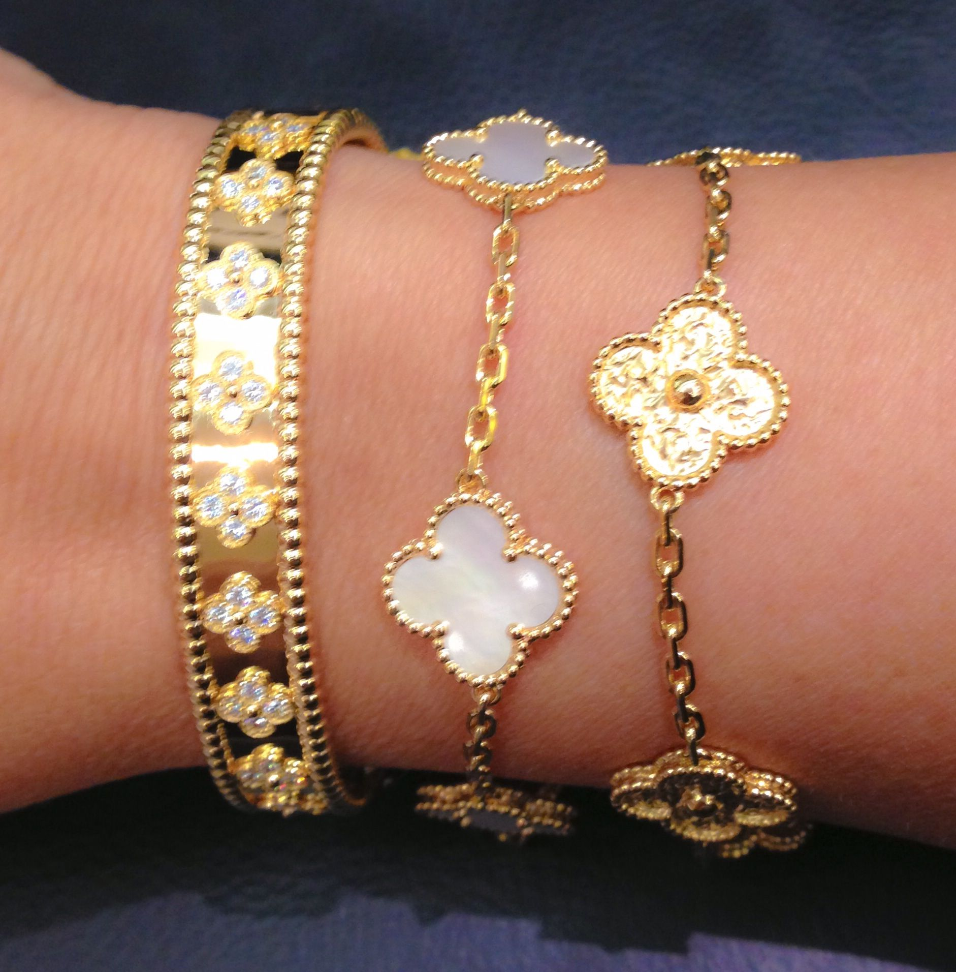 Van Cleef And Arpels Bracelets Diamonds Mother Of Pearl Gold Alhambra Collection Definitely On My Wish List