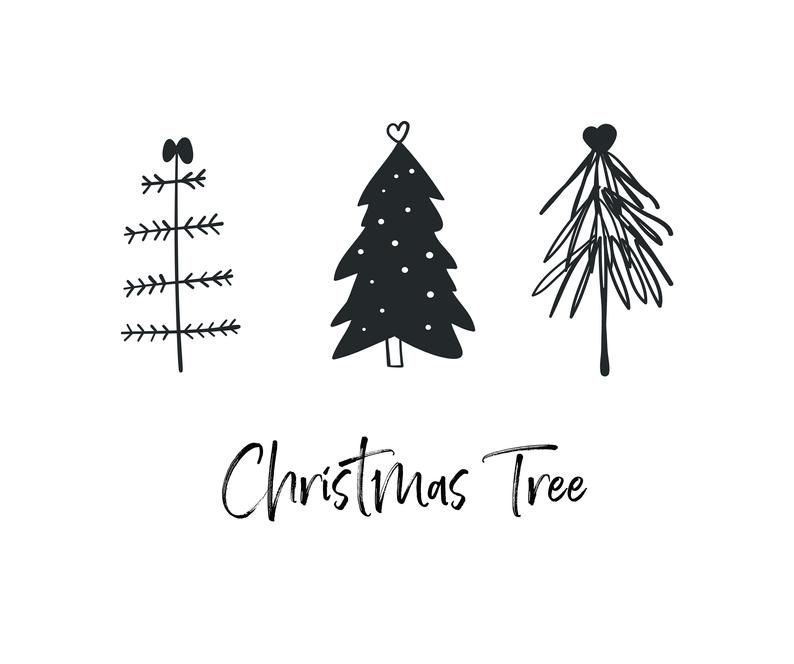 Christmas Tree Black Svg Merry Christmas Svg Christmas Clip Etsy Christmas Tree Drawing Christmas Doodles Christmas Tree Outline