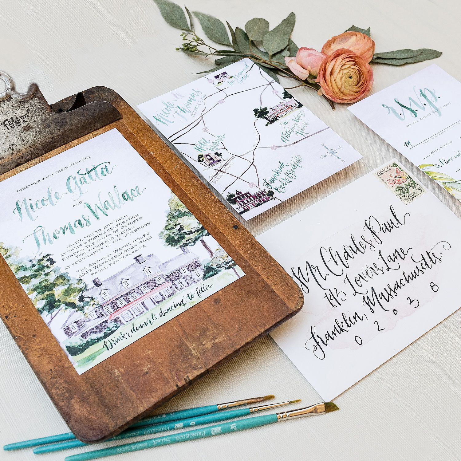 Custom Wedding Venue Watercolor Painting Green And Blush Wedding Invitation Printing Wedding Invitations Custom Wedding Invitations Wedding Invitation Ribbon